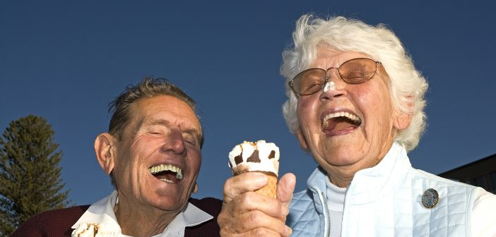 Seniors eating their ice cream