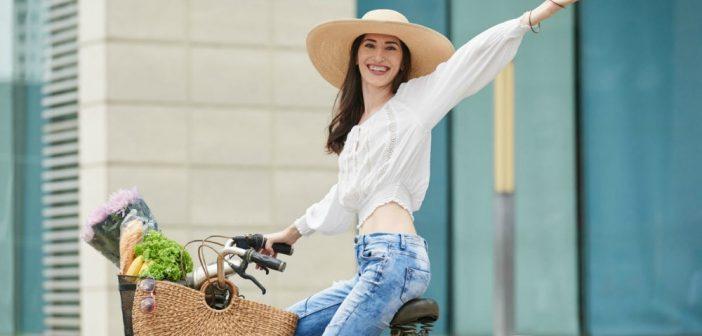 girl riding in her bike
