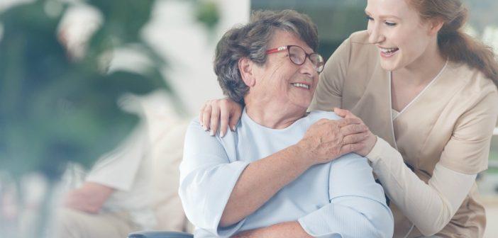 Senior woman with a nurse