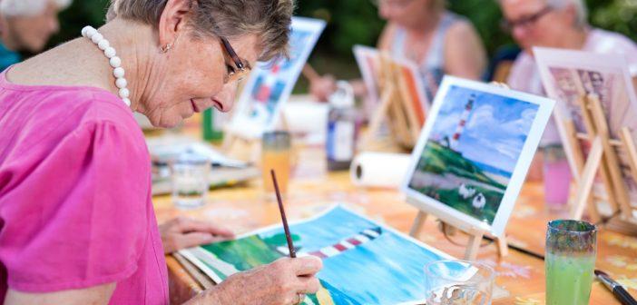 Group of Seniors doing an outdoor art painting
