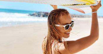woman having fun on summer beach